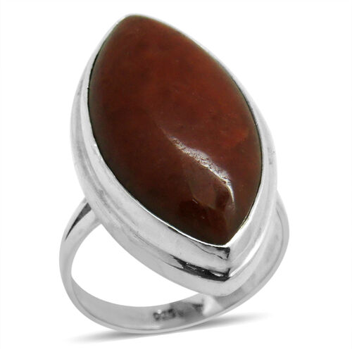 Royal Bali Collection Red Jade (Mrq) Ring in Sterling Silver 24.010 Ct.