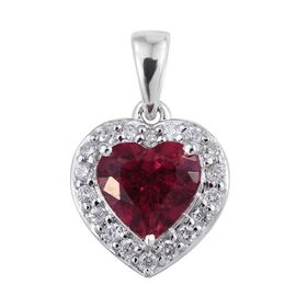 14K White Gold 2 Carat AAA Ouro Fino Rubelite And Diamond (I3/G-H) Heart Pendant