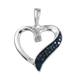 Blue Diamond, White Diamond Heart Pendant in Platinum Overlay Sterling Silver 0.265 Ct.