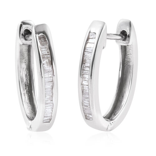 Diamond (Bgt) Hoop Earrings (with Clasp) in Platinum Overlay Sterling Silver 0.275 Ct.
