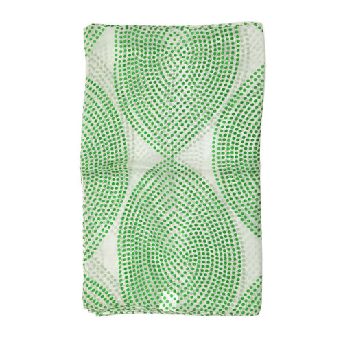 100% Mulberry Silk Green Dots Pattern White Colour Scarf (Size 180x100 Cm)