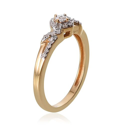 Diamond (Rnd) Ring in 14K Gold Overlay Sterling Silver 0.150 Ct.
