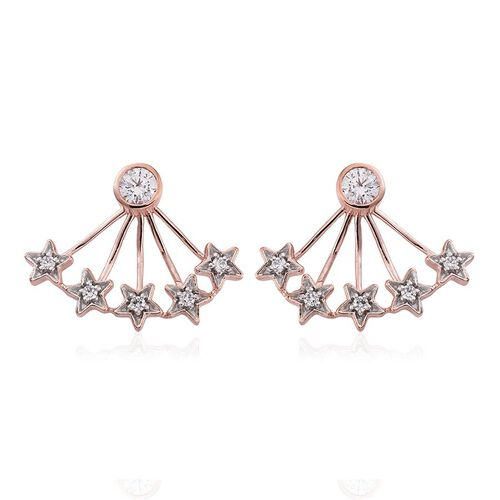 J Francis - Rose Gold Overlay Sterling Silver (Rnd) Jacket Earrings (with Push Back) Made with SWAROVSKI ZIRCONIA