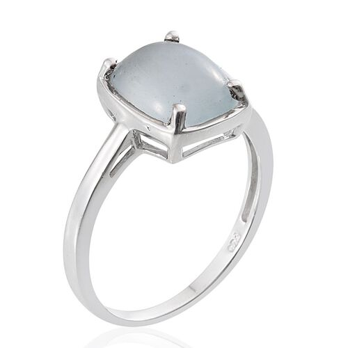 Espirito Santo Aquamarine (Cush) Solitaire Ring in Platinum Overlay Sterling Silver 2.500 Ct.