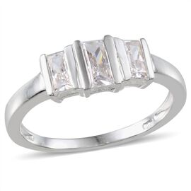 J Francis - Sterling Silver (Bgt) 3 Stone Ring Made With SWAROVSKI ZIRCONIA 0.710 Ct.