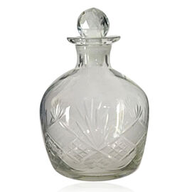 (Option 3) Home Decor - Clear Glass Barrel Shape Decanter with Stopper