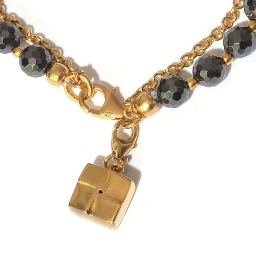 Hematite Friendship Goodluck Charm Bracelet (Size 7.5) in 14K Gold Overlay Sterling Silver 45.500 Ct.