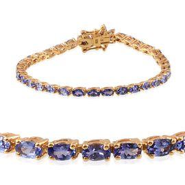 Tanzanite (Ovl), Diamond Tennis Bracelet (Size 7) in 14K Gold Overlay Sterling Silver 9.005 Ct.