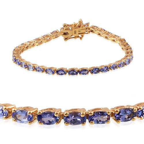 Tanzanite (Ovl), Diamond Tennis Bracelet (Size 7) in 14K Gold Overlay Sterling Silver 9.005 Ct.