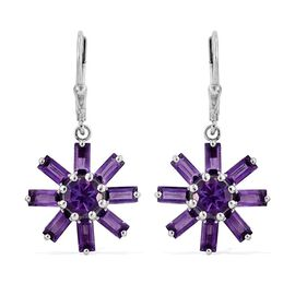 Amethyst (Rnd) Floral Lever Back Earrings in Platinum Overlay Sterling Silver 5.000 Ct.