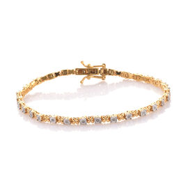 Diamond XO Bracelet in Gold Overlay Sterling Silver Size 7.5