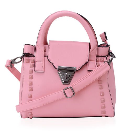 Pink Colour Tote Bag with External Zipper Pocket and Adjustable and Removable Shoulder Strap (Size 25x15x10 Cm)