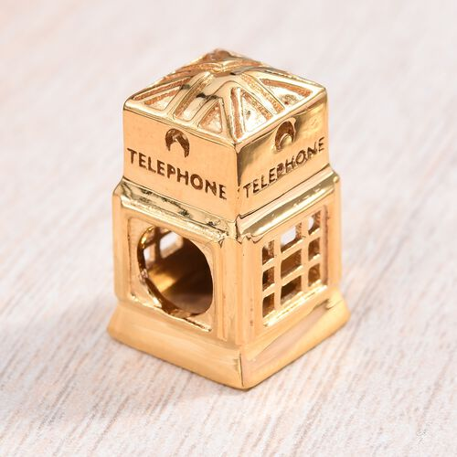 14K Gold Overlay Sterling Silver Telephone Booth Spacer Charm, Silver wt 5.35 Gms.