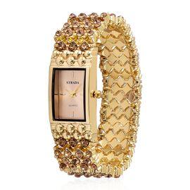 STRADA AAA White Austrian Crystal Stretch Bracelet Watch - Yellow Gold Tone