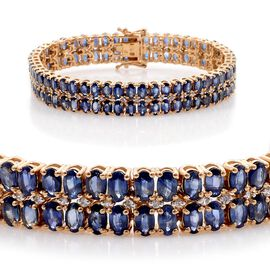 AAA Kanchanaburi Blue Sapphire (Ovl), White Sapphire Bracelet in 14K Gold Overlay Sterling Silver (Size 7.5) 25.750 Ct.