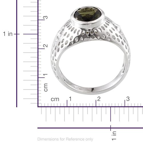 Bohemian Moldavite (Ovl) Solitaire Ring in Platinum Overlay Sterling Silver 1.750 Ct.