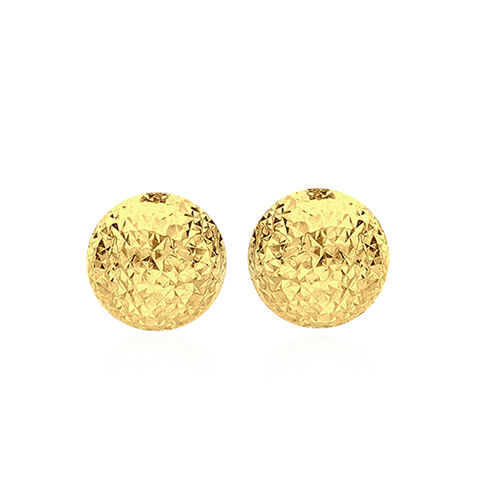 Vicenza Collection 9K Yellow Gold Diamond Cut Half Ball Stud Earrings (with Push Back)