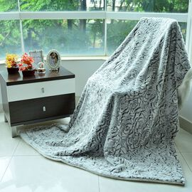 Superfine Microfibre Cream and Black Colour Faux Fur Blanket with Sherpa Reverse (Size 200x150 Cm)