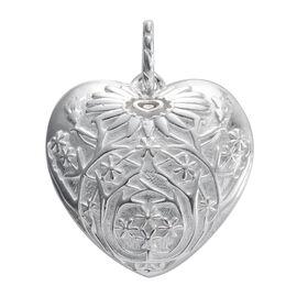Designer Inspired-Sterling Silver Flower Engraved Heart Pendant, Silver wt 5.60 Gms.