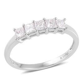 ILIANA 18K White Gold IGI Certified 0.50 Carat Princess Cut Diamond 5 Stone Ring SI G-H