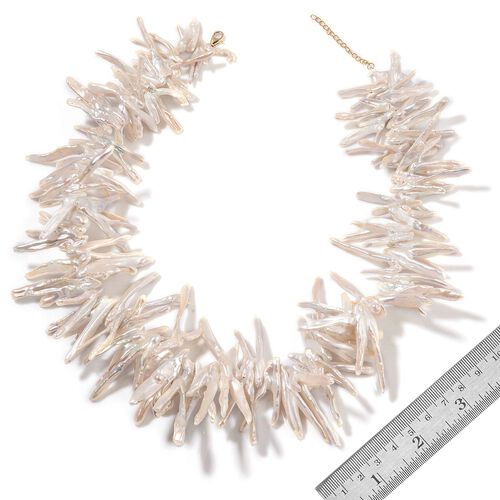 9K Y Gold Fresh Water White Pearl Necklace (Size 20) 840.00 Ct.