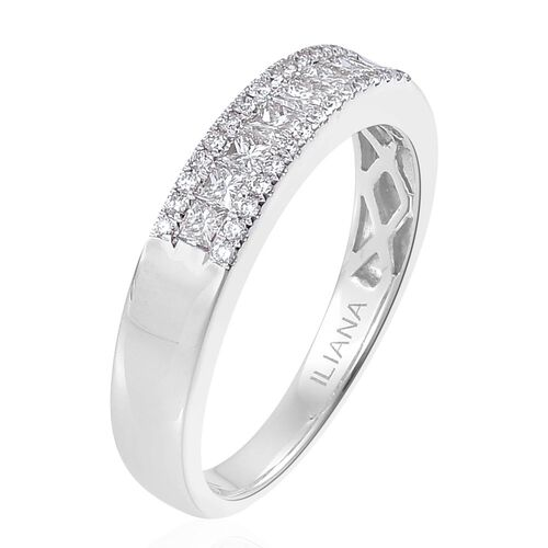 ILIANA 18K White Gold IGI Certified 0.50 Carat Princess Cut Diamond Band Ring SI G-H
