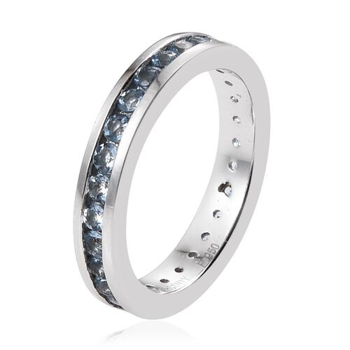 RHAPSODY 950 Platinum 1 Carat Santa Maria Aquamarine Full Eternity Band Ring in Channel Setting.