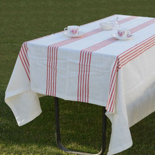 100% Cotton Rust Red Colour Stripe Pattern White Colour Table Cover (Size 235x150 Cm)