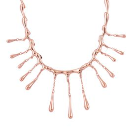 LucyQ Multi Drip Necklace (Size 21 with Extender) in Rose Gold Overlay Sterling Silver 43.60 Gms.