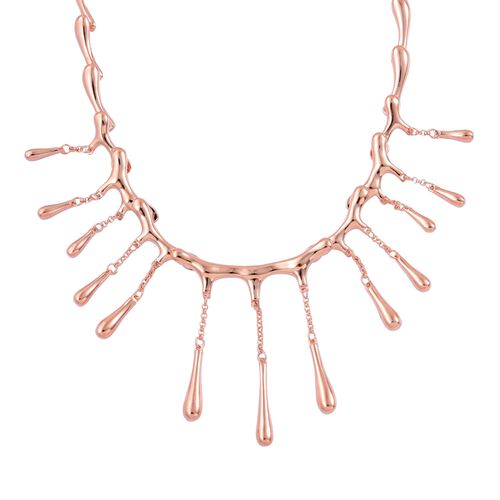 LucyQ Multi Drip Necklace (Size 16 with 4 inch Extender) in Rose Gold Overlay Sterling Silver 42.84 Gms.