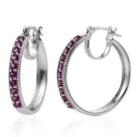 Rare Mozambique Grape Colour Garnet (Rnd) Earrings (with Clasp) in Platinum Overlay Sterling Silver 2.250 Ct.