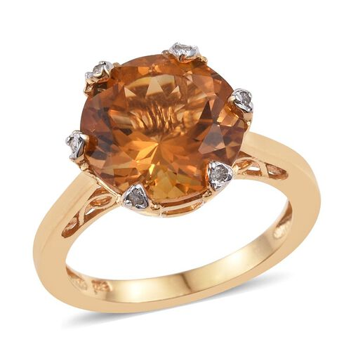 Citrine (Rnd 5.20 Ct), Diamond Ring in 14K Gold Overlay Sterling Silver 5.250 Ct.