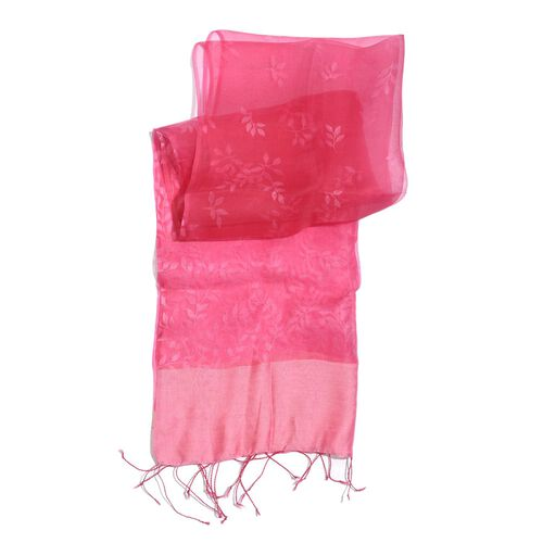 100% Mulberry Silk Red and Pink Self Printed Scarf (Size 180x50 Cm)