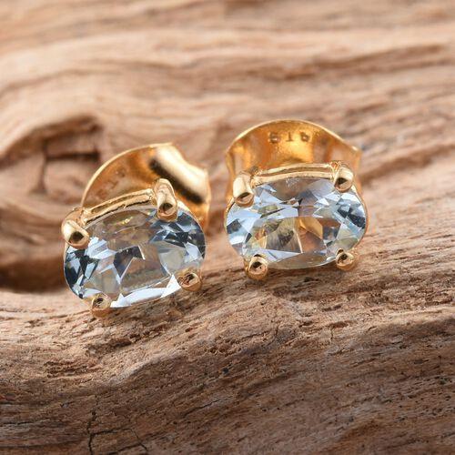 Espirito Santo Aquamarine 0.90 ct. Silver Stud Earrings with Push Back in Gold Overlay