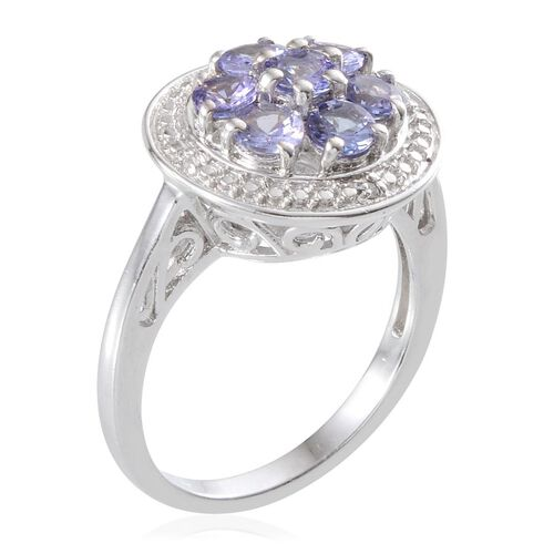 Tanzanite (Rnd), Diamond Ring in  Platinum Overlay Sterling Silver 1.270 Ct.