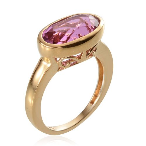 Kunzite Colour Quartz (Ovl) olitaire Ring in 14K Gold Overlay Sterling Silver 8.000 Ct.