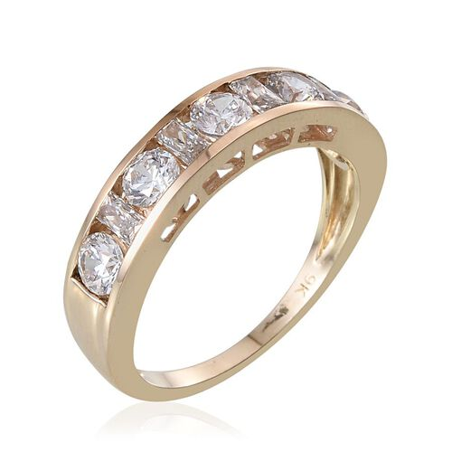 9K Y Gold (Rnd) Half Eternity Band Ring Made with SWAROVSKI ZIRCONIA 1.690 Ct.