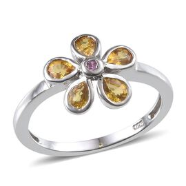 Yellow Sapphire (Pear), Pink Sapphire Floral Ring in Platinum Overlay Sterling Silver 0.900 Ct.