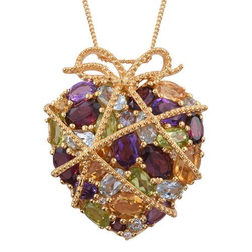 GP Rhodolite Garnet (Ovl), Citrine, Amethyst, Hebei Peridot and Multi Gemstone Pendant With Chain in 14K Gold Overlay Sterling Silver 9.021 Ct.