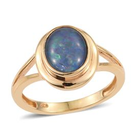 Australian Boulder Opal (Ovl) Solitaire Ring in 14K Gold Overlay Sterling Silver 1.750 Ct.