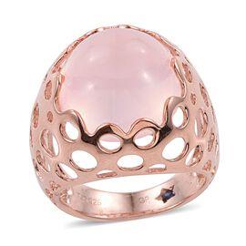 GP Rose Quartz (Rnd), Kanchanaburi Blue Sapphire Ring in Rose Gold Overlay Sterling Silver 13.000 Ct.