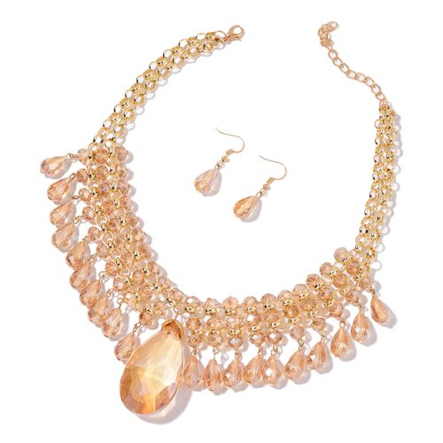 Simulated Champagne Diamond Necklace (Size 20 with 3 inch Extender) and Hook Earrings in Yellow Gold Tone with Stainless Steel