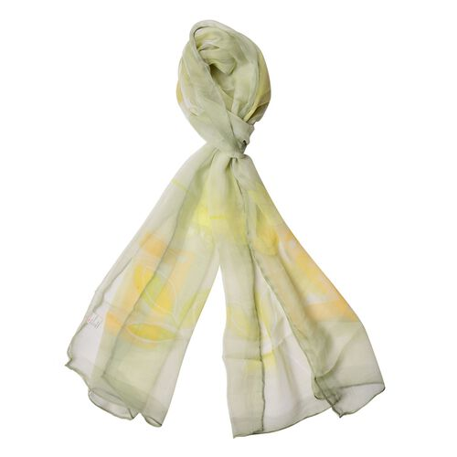 100% Mulberry Silk Yellow and Orange Colour Floral and Leaves Pattern Green Colour Scarf (Size 170x50 Cm)