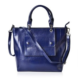 Pimlico Genuine Leather Blue Colour Tote Bag with External Zipper Pocket, Adjustable and Removable Shoulder Strap (Size 36x29x29x12 Cm)