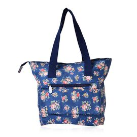 Multi Colour Floral Pattern Blue Tote Bag with External Zipper Pocket (Size 44x33x33x11 Cm)