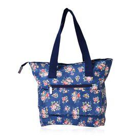 Multi Colour Floral Pattern Blue Tote Bag with External Zipper Pocket (Size 44x33x33x11 Cm)