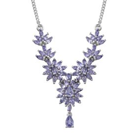 Tanzanite (Pear) Necklace (Size 18) in Platinum Overlay Sterling Silver 6.500 Ct.