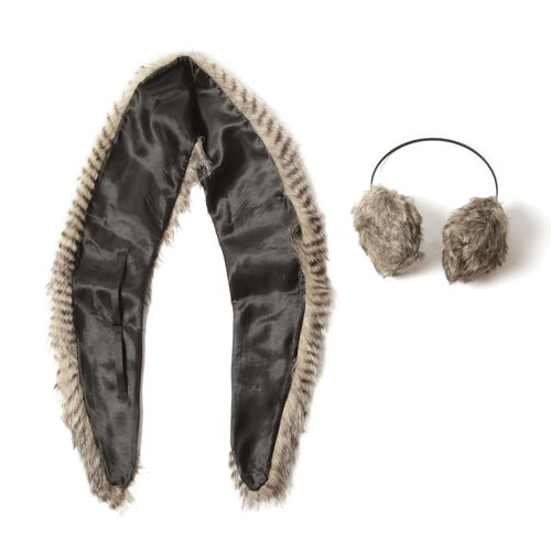 Faux Fur Stripy Pattern Chocolate Brown Colour Scarf and Fluffy Earmuff