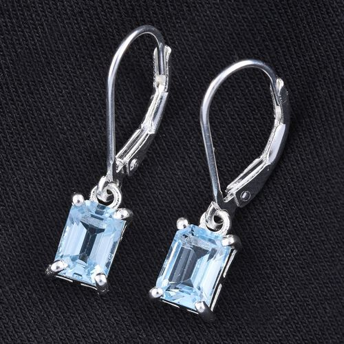 Sky Blue Topaz (Oct) Lever Back Earrings in Sterling Silver 2.500 Ct.