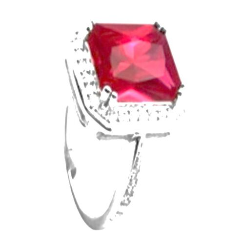 AAA Simulated Pink Sapphire (Oct), Simulated Diamond Ring in Rhodium Plated Sterling Silver